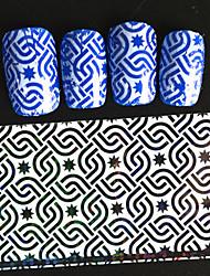 5pcs 20*4cm 2016 New Japanese White  Series Interlock Square Shape and Star Design  Foils DIY Nail Sticker STZ Jw3