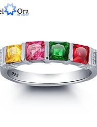 2016 edlen großen 4 bunten Zirkon 925 Sterling Silber Ring für die Frau&Dame