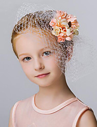 Orange Flower Girl's Fabric / Net Headpiece - Wedding / Special Occasion / Outdoor Flowers