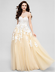 Formal Evening Dress - White Plus Sizes / Petite A-line Sweetheart Floor-length Lace / Tulle