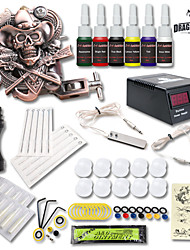 Dragonhawk® Tattoo Kit 1 Relief Tattoo Machine 6 Color Inks Power Supply Set For Beginner