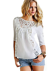 Women's Casual/Daily Sexy Summer T-shirt,Patchwork Round Neck ¾ Sleeve White Others Opaque