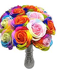1 pièce de couleur fleur artificielle fleur rose coloré rose fleur pour la maison de mariage décoration (couleur aléatoire)