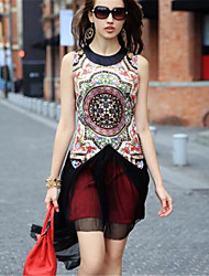 Women's Street chic Chiffon Dress,Print Round Neck Above Knee Sleeveless Multi-color Polyester Summer