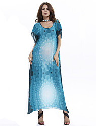 Women's U Neck Nepal Drilling Hot Rhinestone Print Plus Size Cape Sleeve Maxi Dress(Chiffon)