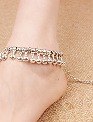 2Pcs Boho Style Anklet Chain Barefoot Sandals Bridemaids Wedding Jewelry Toe bells Tassels   (Silver plated)