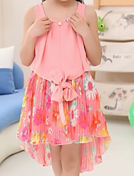 Girl's Pink / White / Yellow Dress,Floral Polyester Summer / Spring