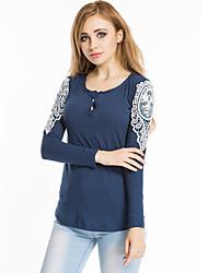 Damen Solide Sexy / Retro Lässig/Alltäglich T-shirt,Rundhalsausschnitt Alle Saisons Langarm Blau / Rosa / Rot / Weiß / SchwarzBaumwolle /