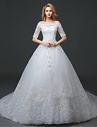 Ball Gown Wedding Dress - White Cathedral Train Off-the-shoulder Lace