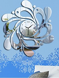New Home Decoration Waves Wall Clock Fashion Acrylic Mirror Wall Decal Art Stickers Decals
