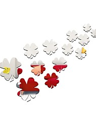 3D Sticker Modern Acrylic Red And Silver Four-Leaf Clover Mirror Stickers Wall Paper Diy Gift