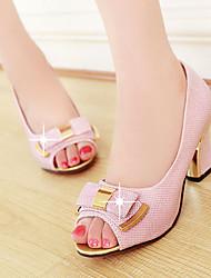 Women's Shoes LHeel Heels / Peep Toe Sandals / Heels Outdoor / Dress / Casual Pink / Silver / Gold