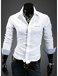 Shirts Tuxedo (Wing Collar) Long Sleeve Cotton Solid Black / Light Blue / White / Chocolate / Dark Red