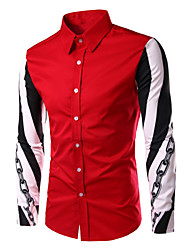 Men's Print Casual / Work / Formal / Sport Shirt,Cotton Long Sleeve Black / Red / White