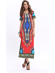 Women's Sexy Sheath Dress,Floral Round Neck Maxi Short Sleeve Blue / Red / Yellow Cotton Spring