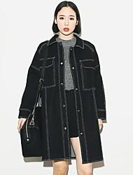 Women's Striped Black Denim Jackets , Street chic Shirt Collar Long Sleeve