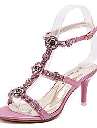 Women's Shoes Synthetic Stiletto Heel Open Toe Sandals Dress Pink