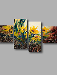 "Ready to Hang Stretched Hand-painted Oil Painting 64""x40"" Canvas Wall Art Modern Flowers Sunflowers Yellow"