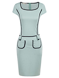 Women's Work / Casual / Day Patchwork Sheath Dress , Round Neck Knee-length Polyester
