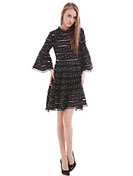 Women's Casual / Day Polka Dot Loose Dress,Round Neck Above Knee Polyester