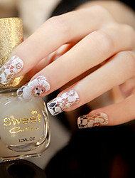 6pcs/lot  White Lace Serial Transparent Nail Decals Stickers Nail Tips False Decoration