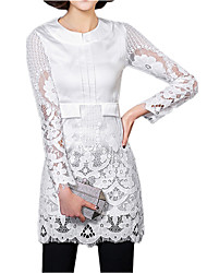 Spring Women's Lace Splicing Chiffon Round Neck Long Sleeve Solid Color Slim OL Shirt Tops Blouse
