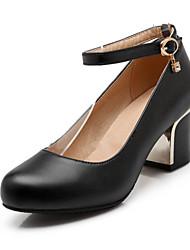 Chaussures Femme-Bureau & Travail / Habillé / Décontracté-Noir / Rose / Rouge / Blanc-Gros Talon-Talons / Bout Arrondi-Talons-Similicuir