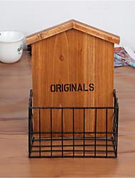 la canasta de almacenamiento casa de madera hueco de almacenamiento cesta / caja