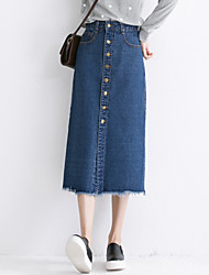 Women's Solid Blue Long Demin Skirts , Casual / Day / Simple Midi