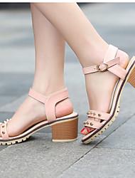Zapatos de mujer-Tacón Robusto-Tacones / Punta Abierta-Sandalias / Tacones-Exterior / Vestido / Casual-Semicuero-Negro / Azul / Rosa /