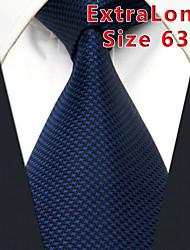 Men's Tie Navy Blue Solid 100% Silk Business  Dress Casual Long