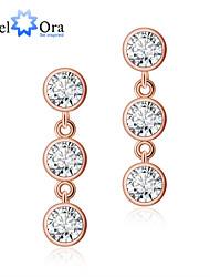 Earring Round Drop Earrings Jewelry Women Wedding / Party / Daily / Casual Silver / Sterling Silver / Zircon 1set Coppery