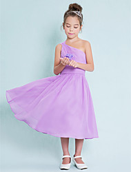 Lanting Bride® Tea-length Chiffon Junior Bridesmaid Dress A-line One Shoulder with Side Draping