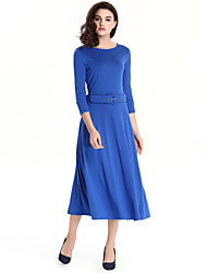 High Quality Breathable comfort Women's Vintage Solid Plus Size / Loose Dress , Round Neck Midi