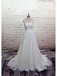 A-line Wedding Dress Floor-length Scoop Satin / Tulle with Appliques