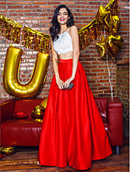TS Couture® Prom  Formal Evening Dress - Two Pieces A-line Spaghetti Straps Ankle-length Satin with Beading / Lace