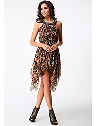 Women's Sexy Leopard Chiffon / Swing Dress , Round Neck Asymmetrical Polyester