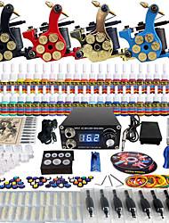 solong tatuaggio completo kit tatuaggio 4 macchine pro 54 inchiostri di alimentazione aghi pedale Grip Tips TK458