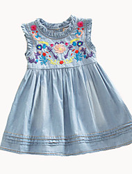 2016 New Summer Girl Dress Flower Girls Denim Dresses Baby Children Cute Vestidos Cute Ear Embroidered Skirt