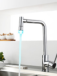 Contemporary Pot Filler Centerset LED with  Ceramic Valve Single Handle One Hole for  Chrome , Kitchen faucet