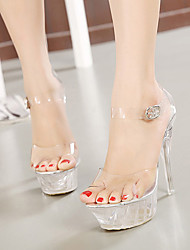 Women's Shoes Silicone Stiletto Heel  Peep Toe Sandals Party & Evening / Dress White