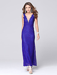 Women's Lace/Backless Sexy Club/Party V Neck Backless Lace Maxi Dress