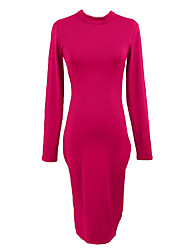 Women Midi Dress Backless Ruched Stand Collar Long Sleeve Bodycon Party Club Bandage Dress