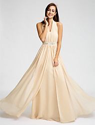 Lanting Bride® Floor-length Chiffon Bridesmaid Dress - Sheath / Column Halter with Beading / Crystal Detailing / Sash / Ribbon