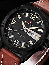 Men NAVIFORCE watch Quartz Waterproof Sports Watch Calendar Genuine Leather Wristwatch (Assorted Color) Wrist Watch Cool Watch Unique Watch