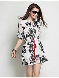 Women's Work Loose Dress,Floral V Neck Above Knee ½ Length Sleeve White Others Summer