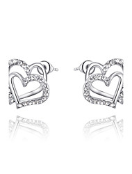 T&C Women's Love Hearts CZ Diamond Party Stud Earrings White Gold Plated Fashion Crystal Wedding Jewelry
