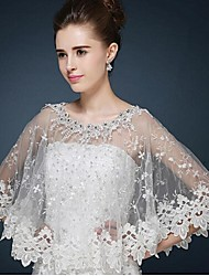 Wedding  Wraps Ponchos Sleeveless Lace / Tulle Ivory Wedding / Party/Evening / Casual Bateau Crystal / Lace Pullover