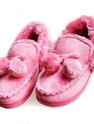 Women's Winter Comfort Cashmere Casual Flat Heel Pink Red