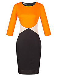 Women's Sexy / Work / Casual / Day Color Block Sheath Dress , Round Neck Knee-length Polyester
